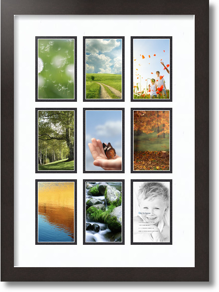 15x21 Espresso Collage Picture Frame 9 Opening Super White