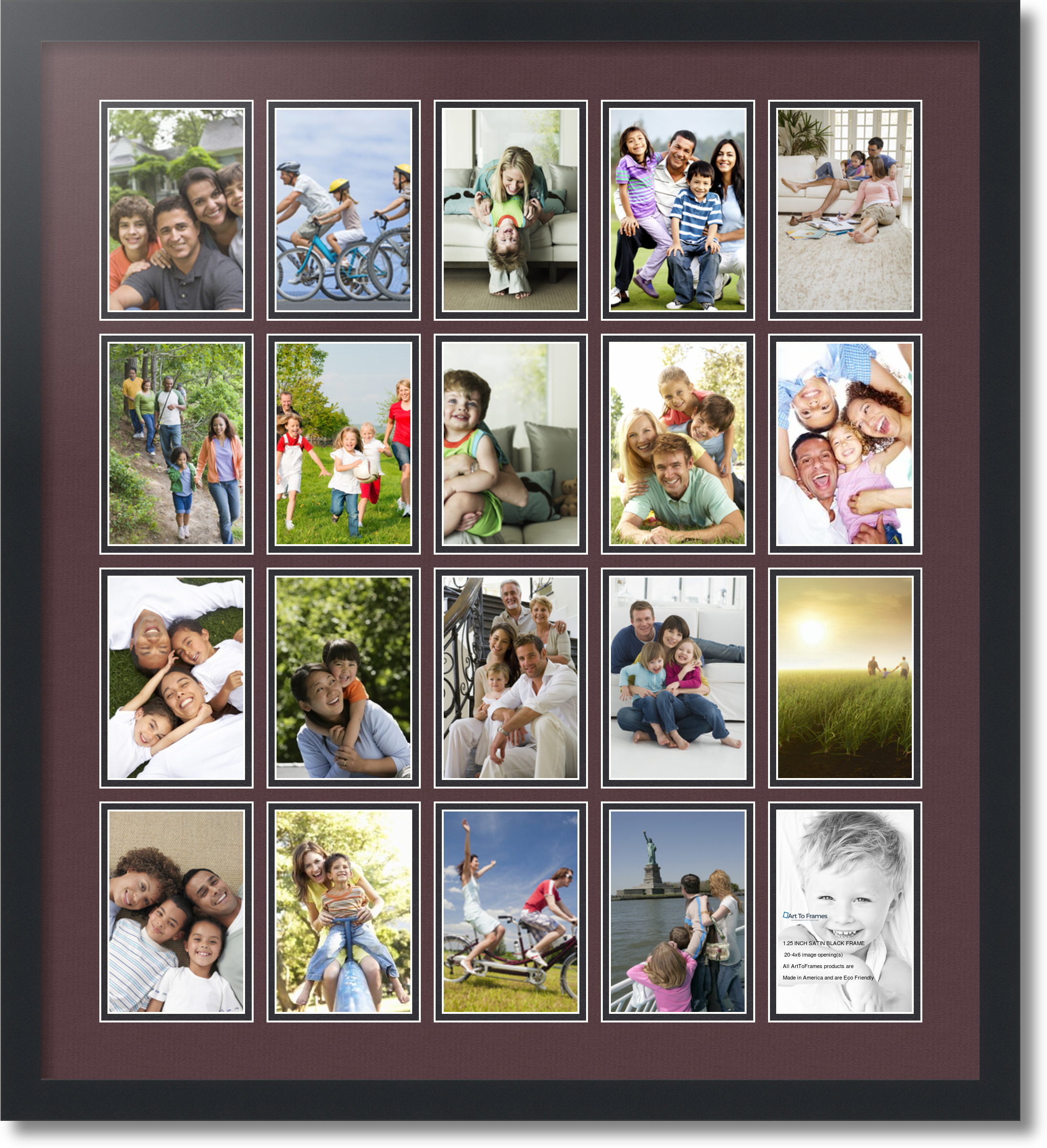 satin black collage picture frame with 20 4x6 opening s double matted ebay. Black Bedroom Furniture Sets. Home Design Ideas