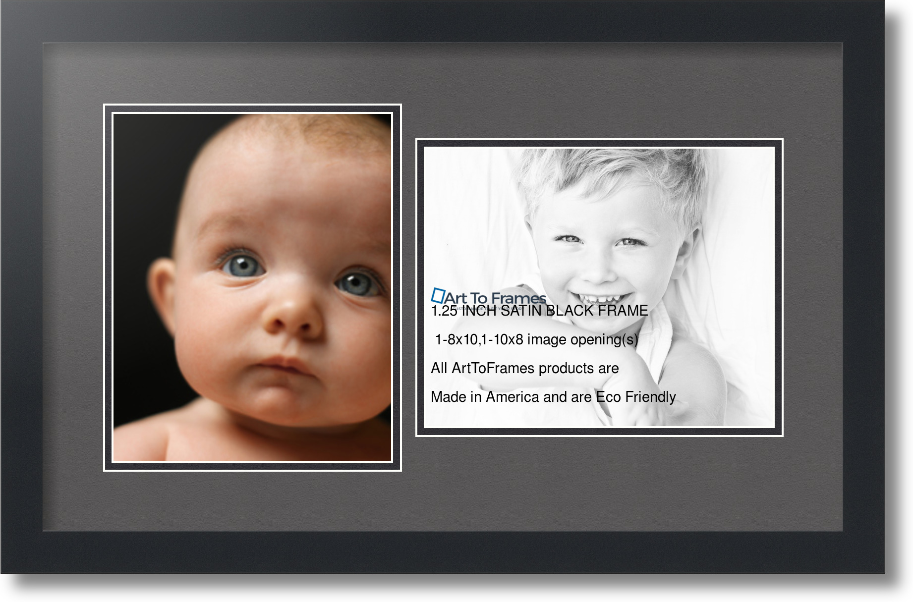Satin Black Collage Picture Frame With 2 8x10 Opening S