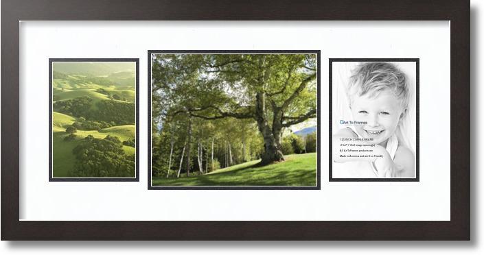 26x12 Espresso Collage Picture Frame 3 Opening Super White
