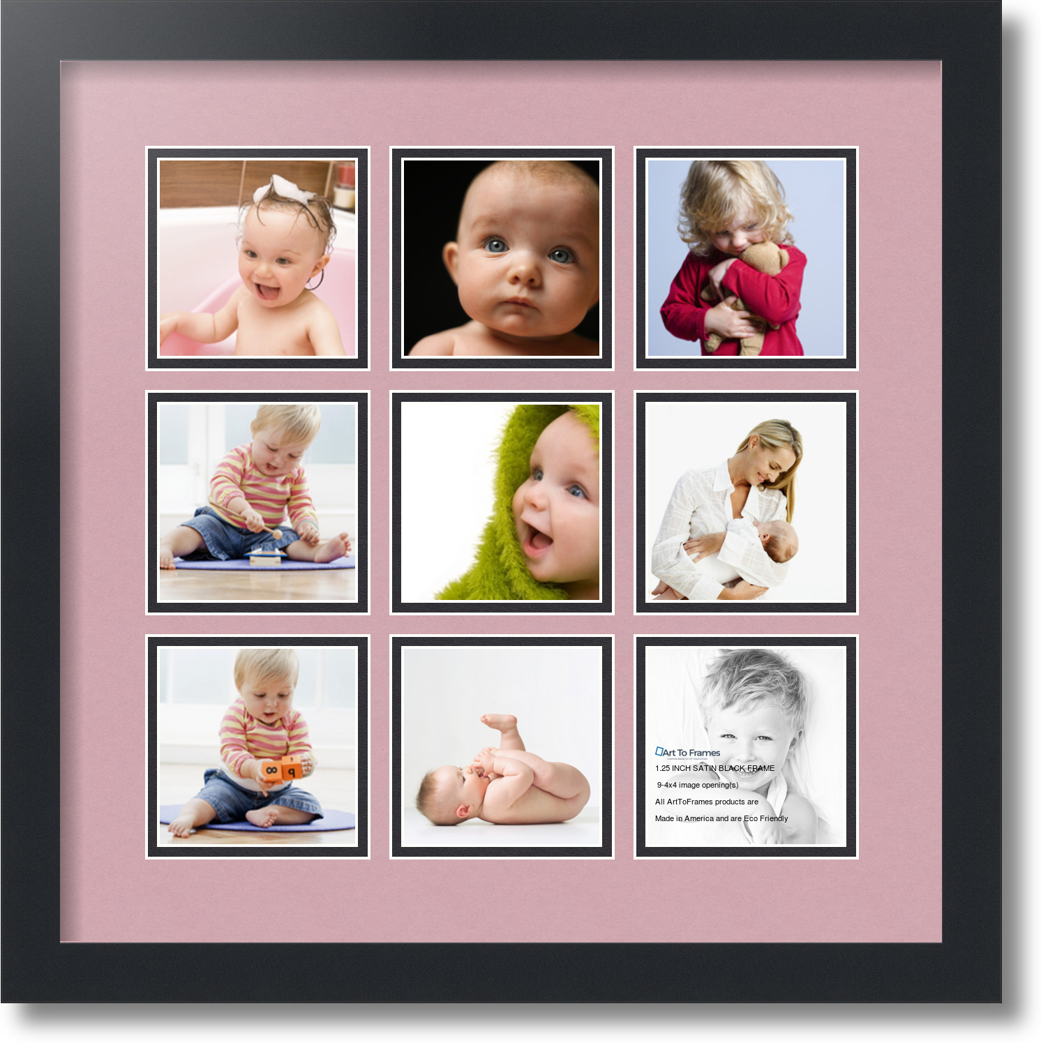 Satin Black Collage Picture Frame With 9 4x4 Opening S