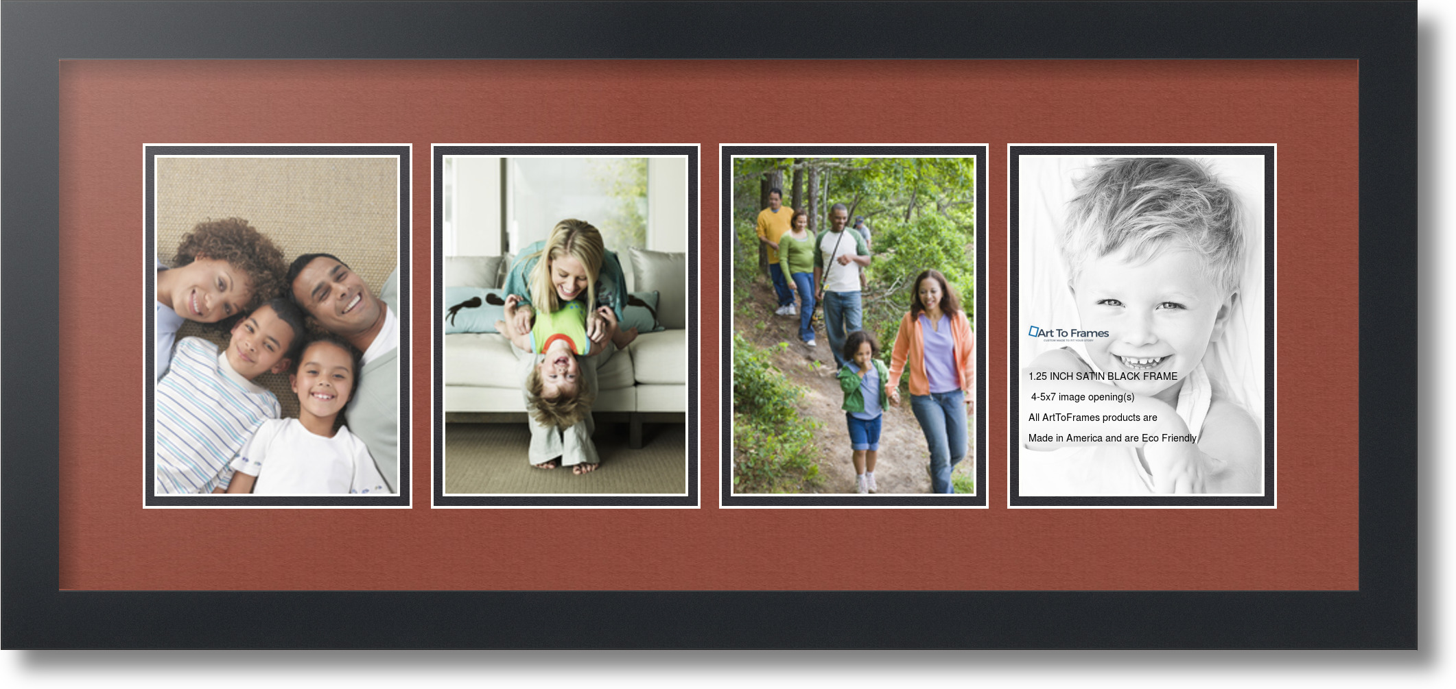 satin black collage picture frame with 4 5x7 opening s double matted ebay. Black Bedroom Furniture Sets. Home Design Ideas