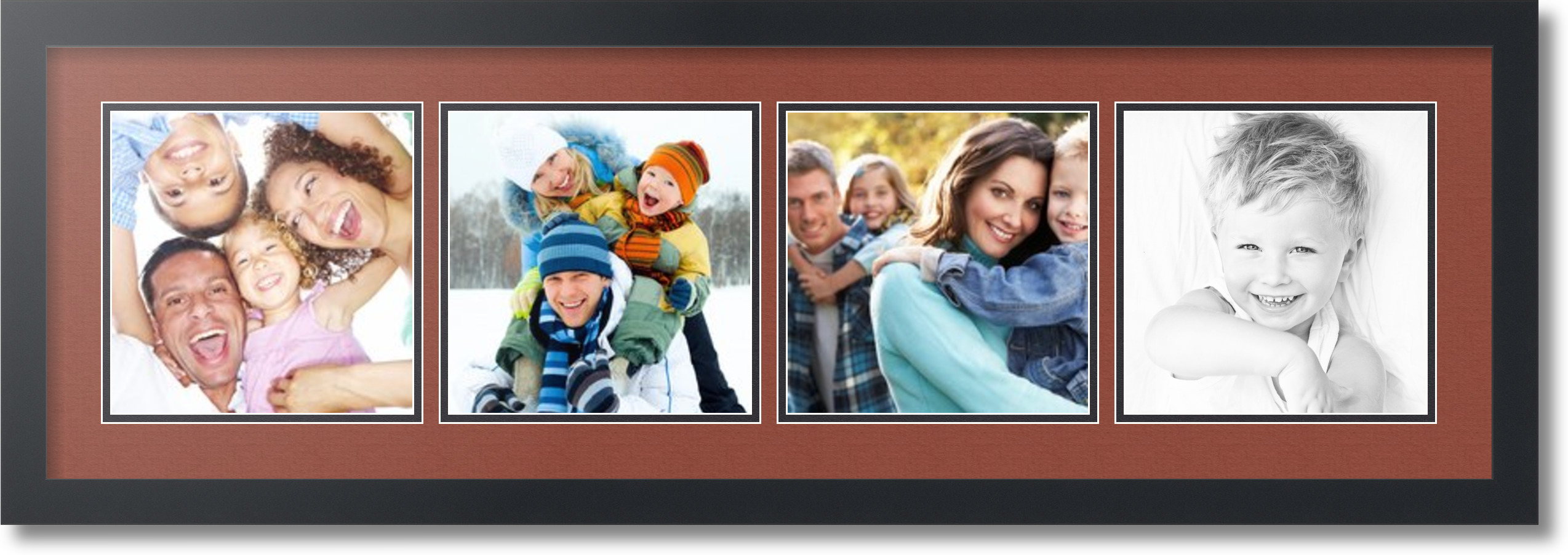 Satin Black Collage Picture Frame With 4 8x8 Opening S