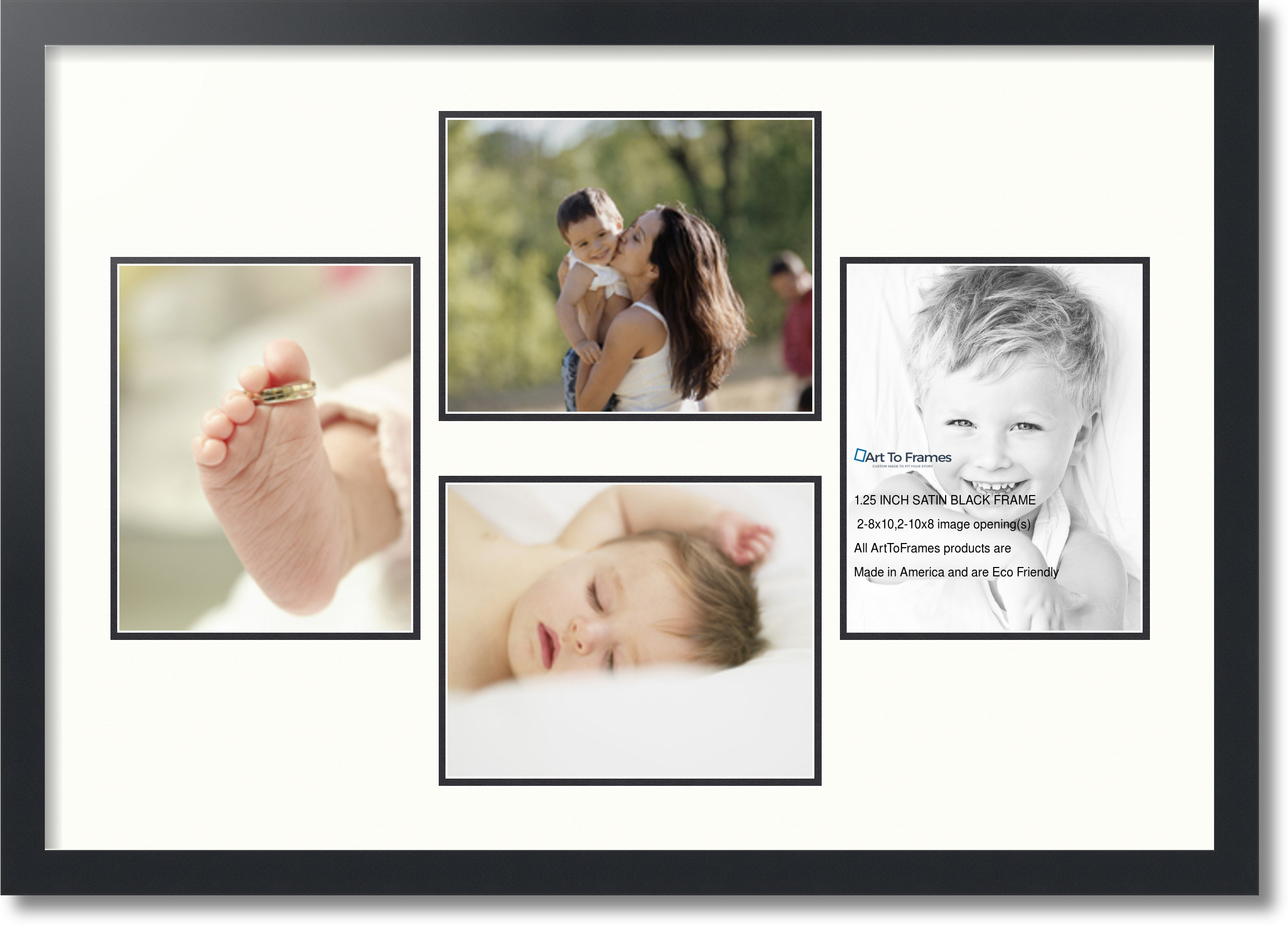 Satin Black Collage Picture Frame With 4 8x10 Opening S