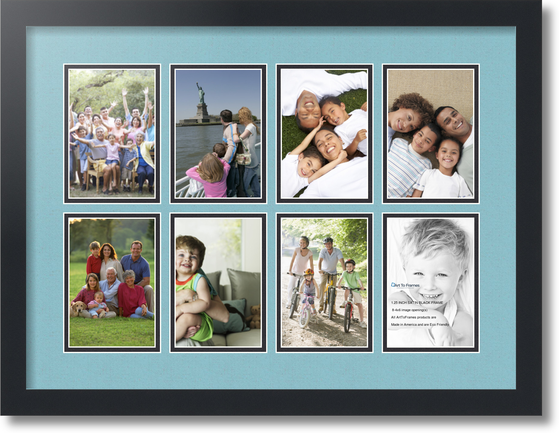 Satin Black Collage Picture Frame With 8
