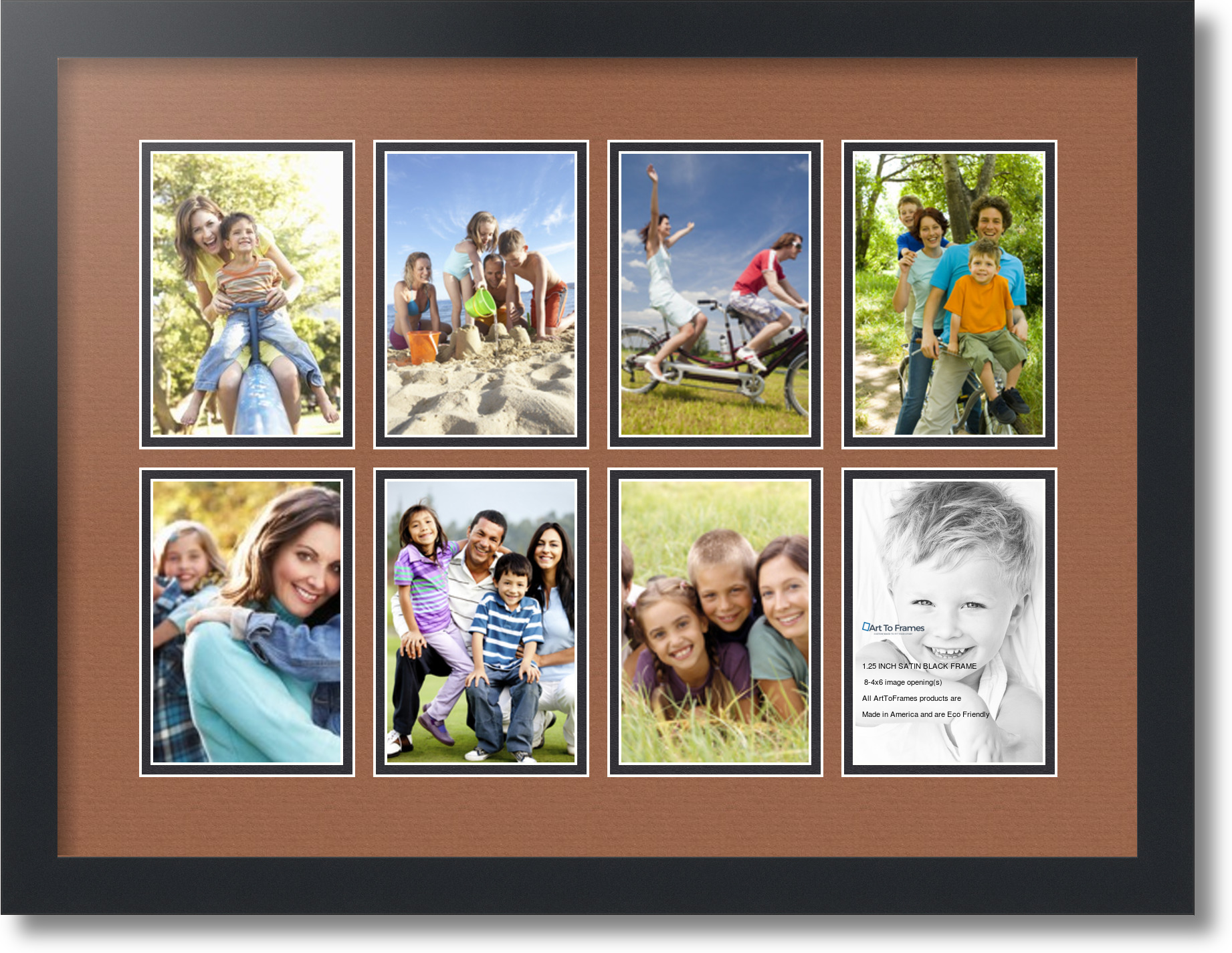 4 By 6 Collage Frames: Satin Black Collage Picture Frame With 8