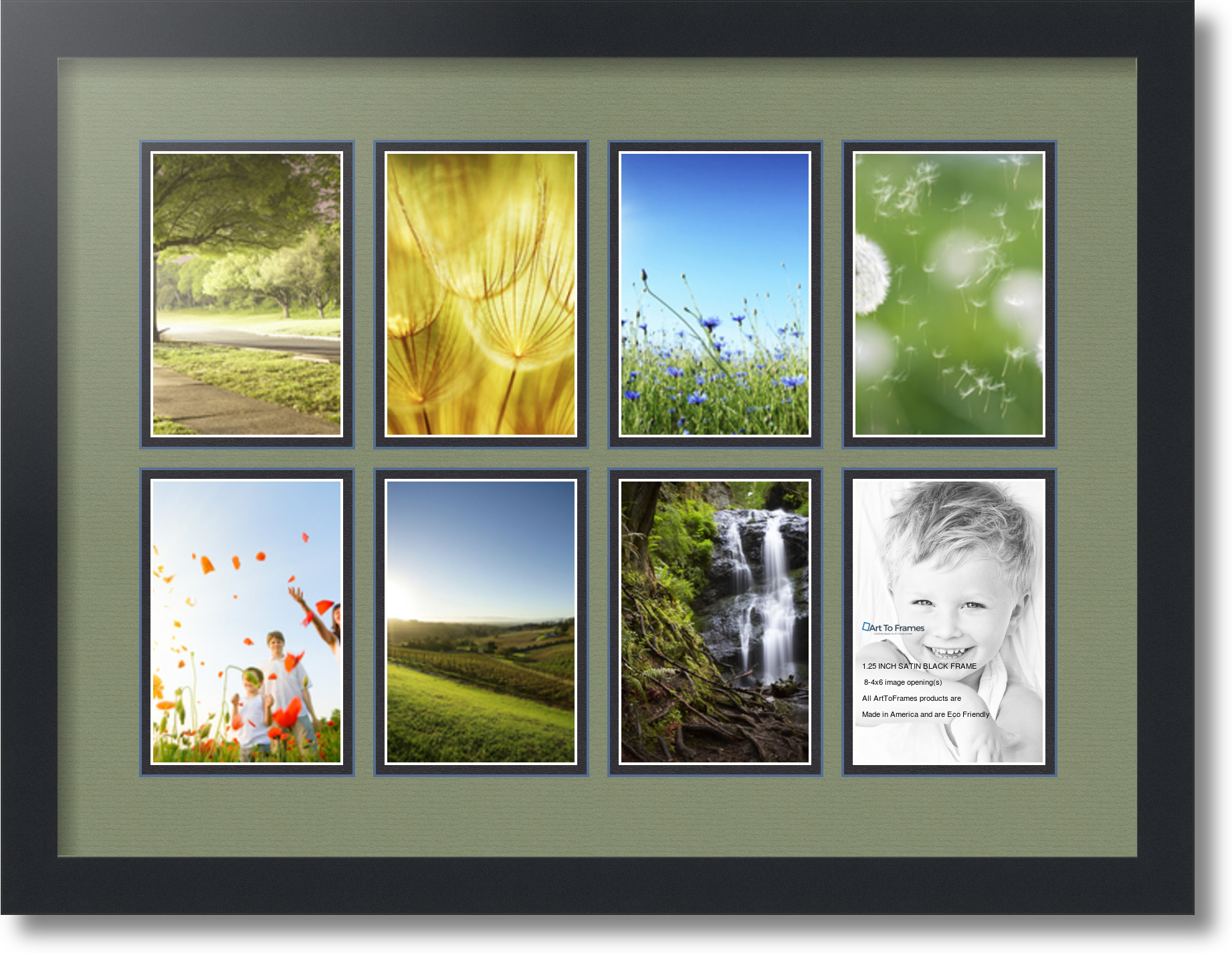 satin black collage picture frame with 8 4x6 opening s double matted ebay. Black Bedroom Furniture Sets. Home Design Ideas
