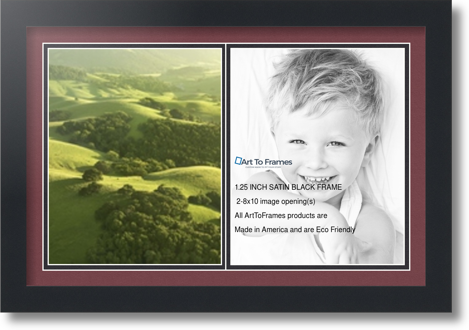 satin black collage picture frame with 2 8x10 opening s double matted ebay. Black Bedroom Furniture Sets. Home Design Ideas