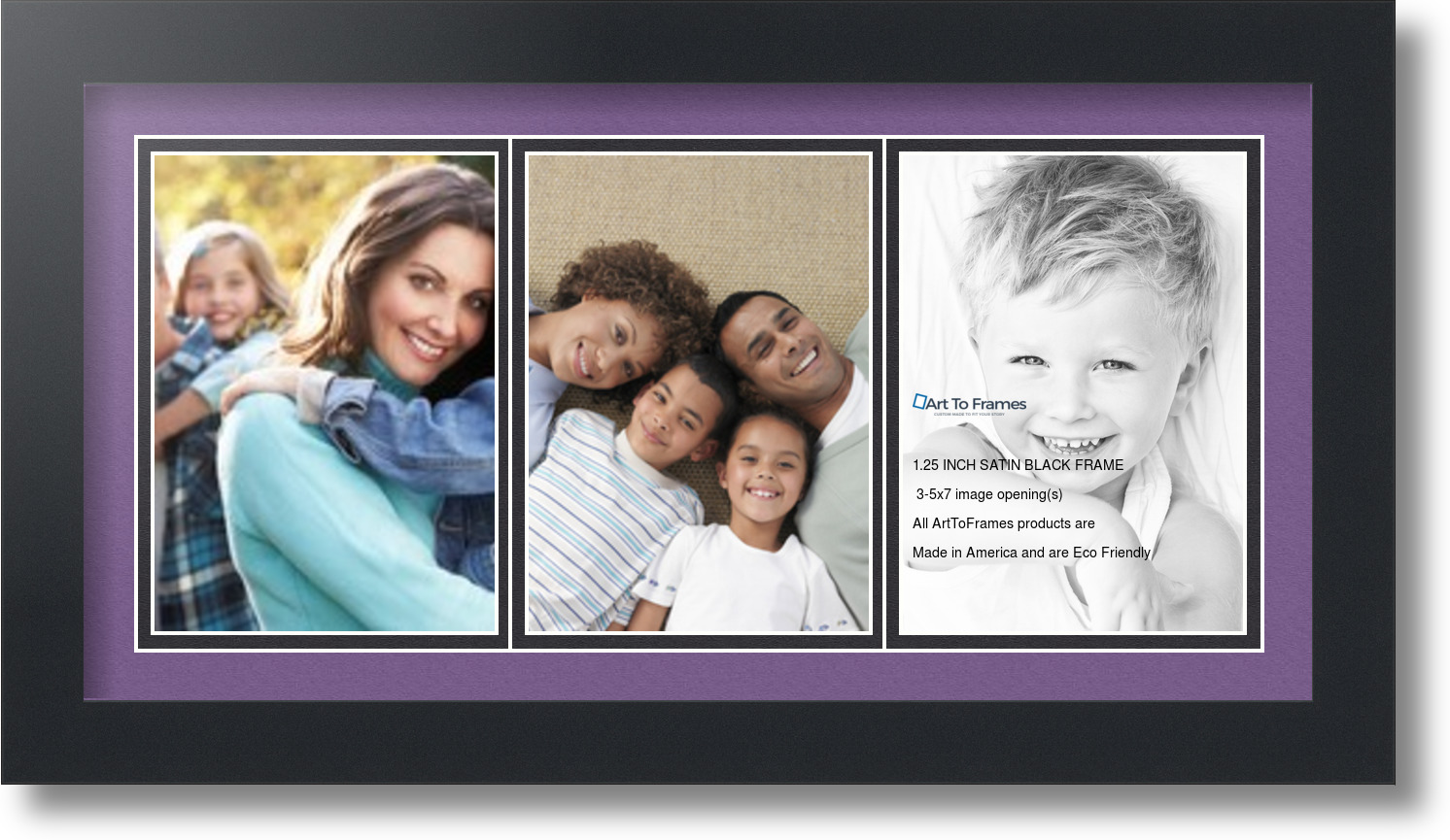 satin black collage picture frame with 3 5x7 opening s double matted. Black Bedroom Furniture Sets. Home Design Ideas