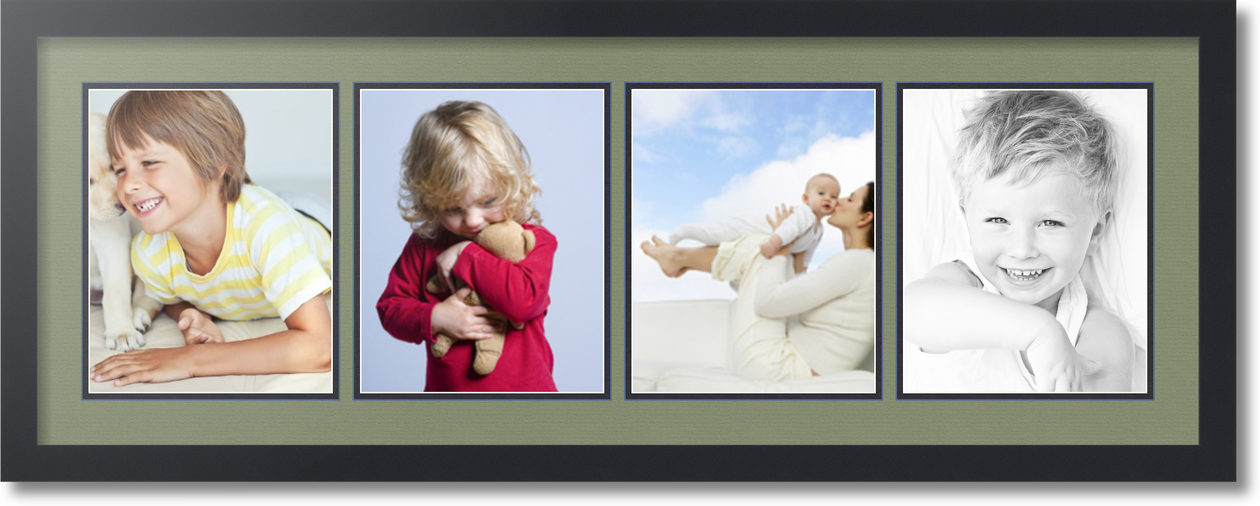 satin black collage picture frame with 4 8x10 opening s double matted ebay. Black Bedroom Furniture Sets. Home Design Ideas