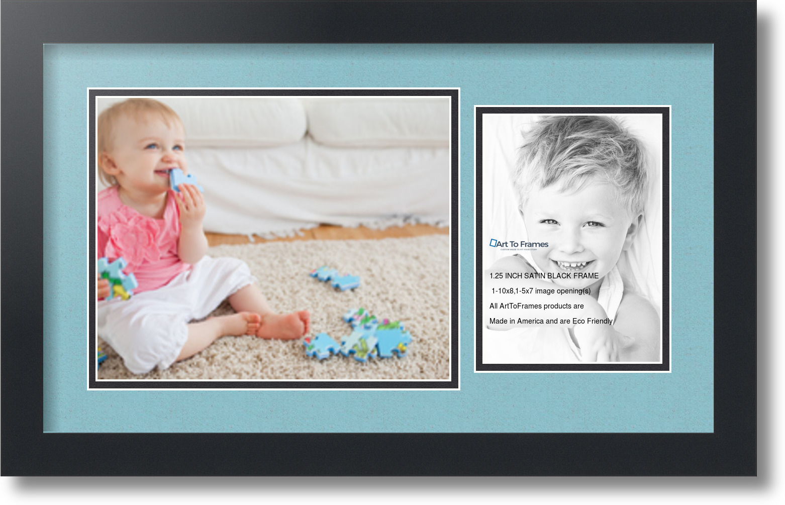 Satin Black Collage Picture Frame With 1 5x7 8x10
