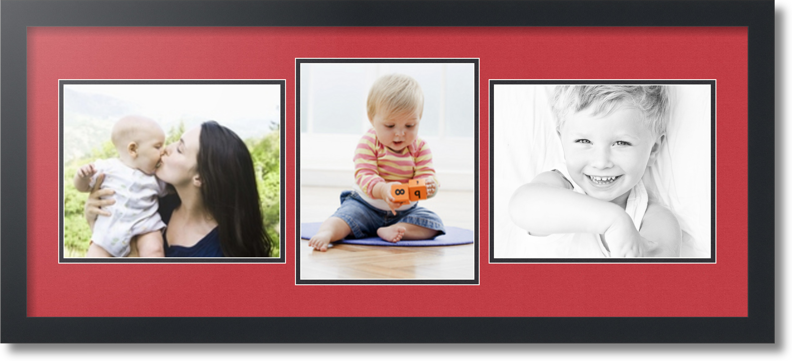 satin black collage picture frame with 3 8x10