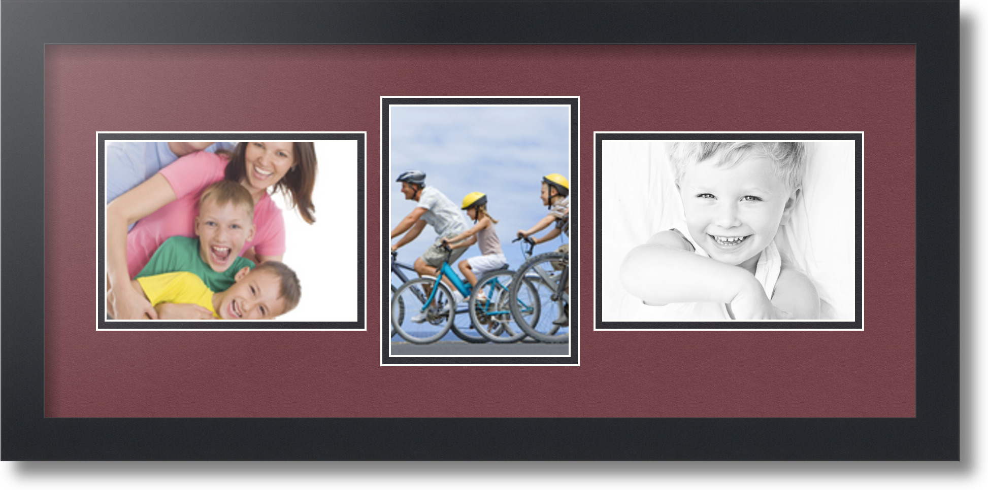 8x10 and 5x7 collage frame - Satin Black Collage Picture Frame With 3 5x7