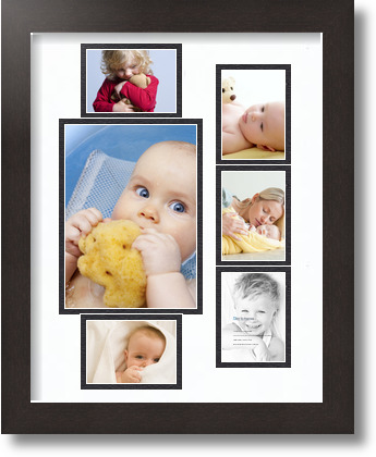 11x14 Espresso Collage Picture Frame 6 Opening Super White