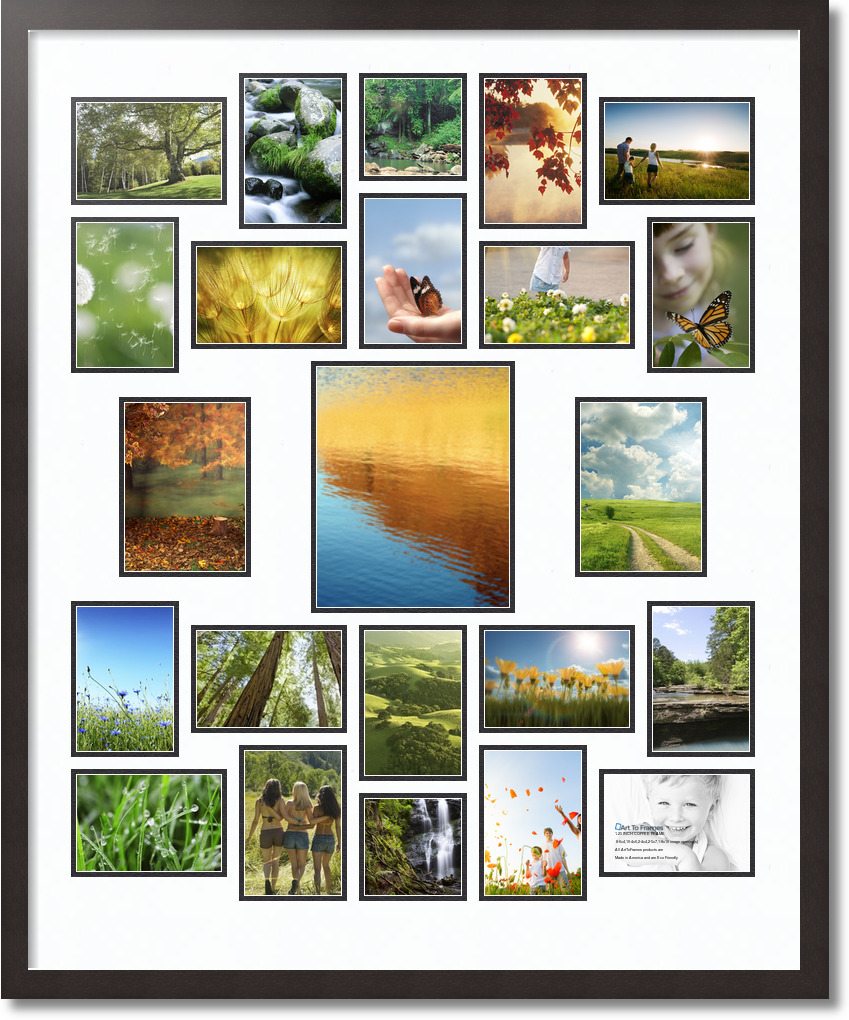 32x39 Espresso Collage Picture Frame 23 Opening Super