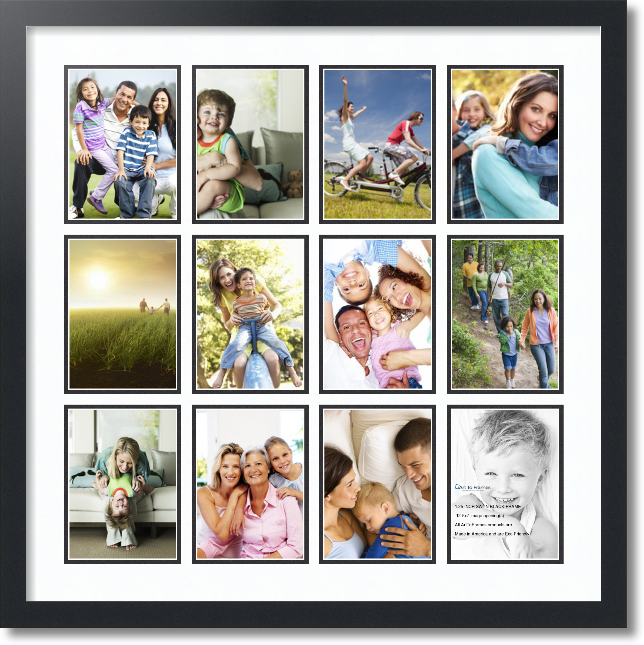 Satin Black Collage Picture Frame With 12 5x7 Opening S