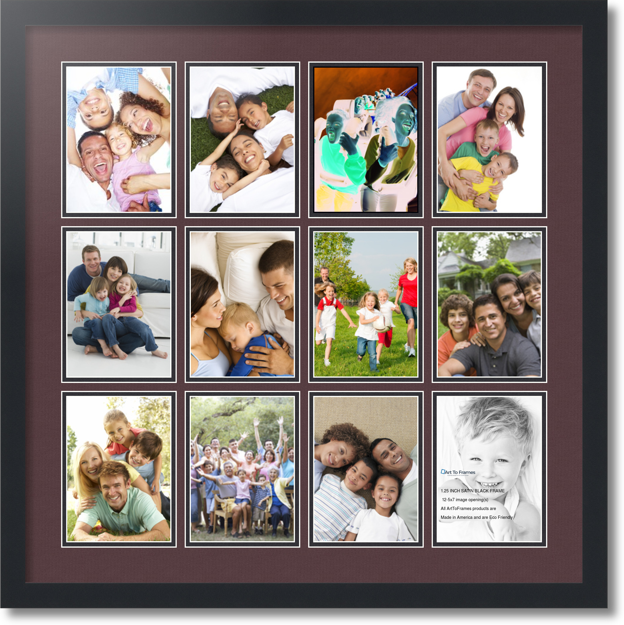 satin black collage picture frame with 12 5x7 opening s double matted ebay. Black Bedroom Furniture Sets. Home Design Ideas