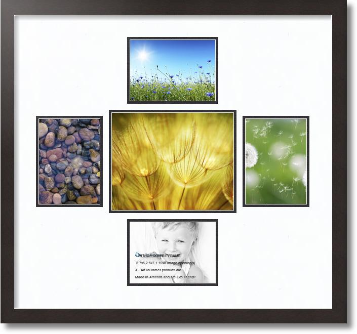 26x24 Espresso Collage Picture Frame 5 Opening Super White