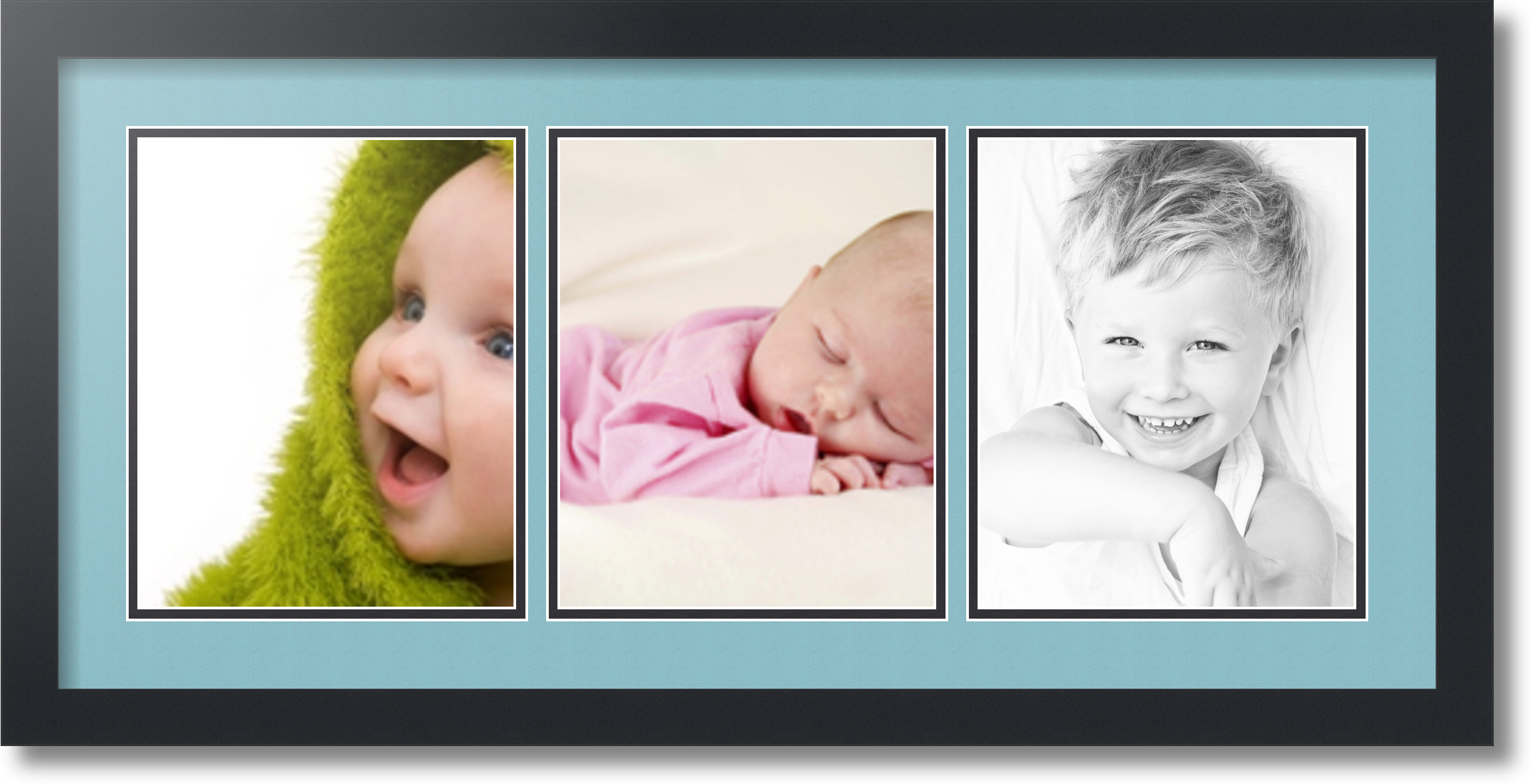 Satin Black Collage Picture Frame With 3 8x10 Opening S