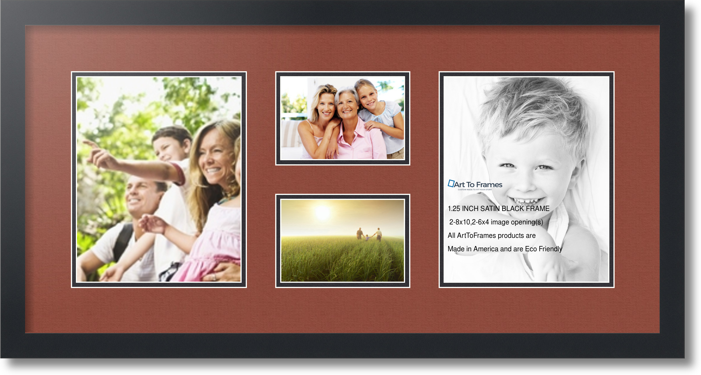 Satin Black Collage Picture Frame With 2 4x6 8x10