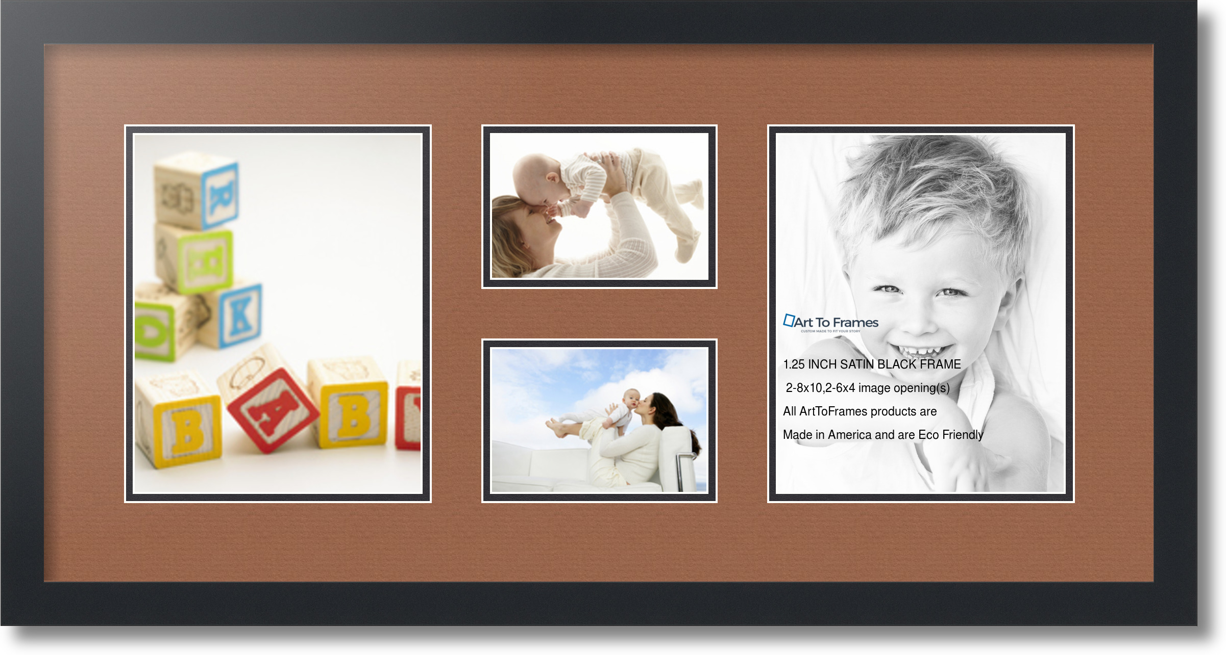 4 By 6 Collage Frames: Satin Black Collage Picture Frame With 2
