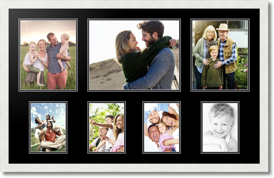 37x23 Satin White Collage Picture Frame 7 Opening Slate