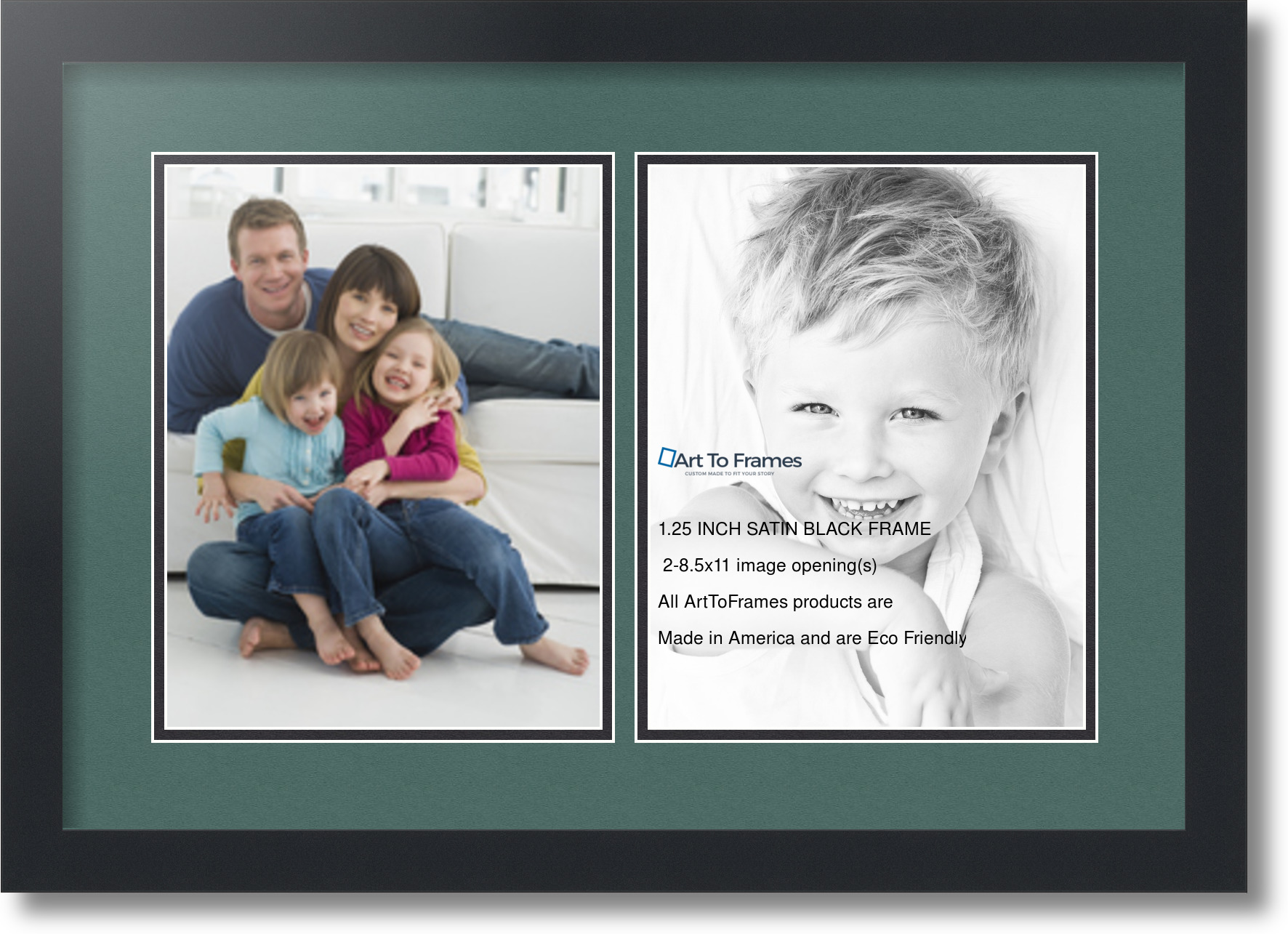 satin black collage picture frame with 2 opening s double matted ebay. Black Bedroom Furniture Sets. Home Design Ideas