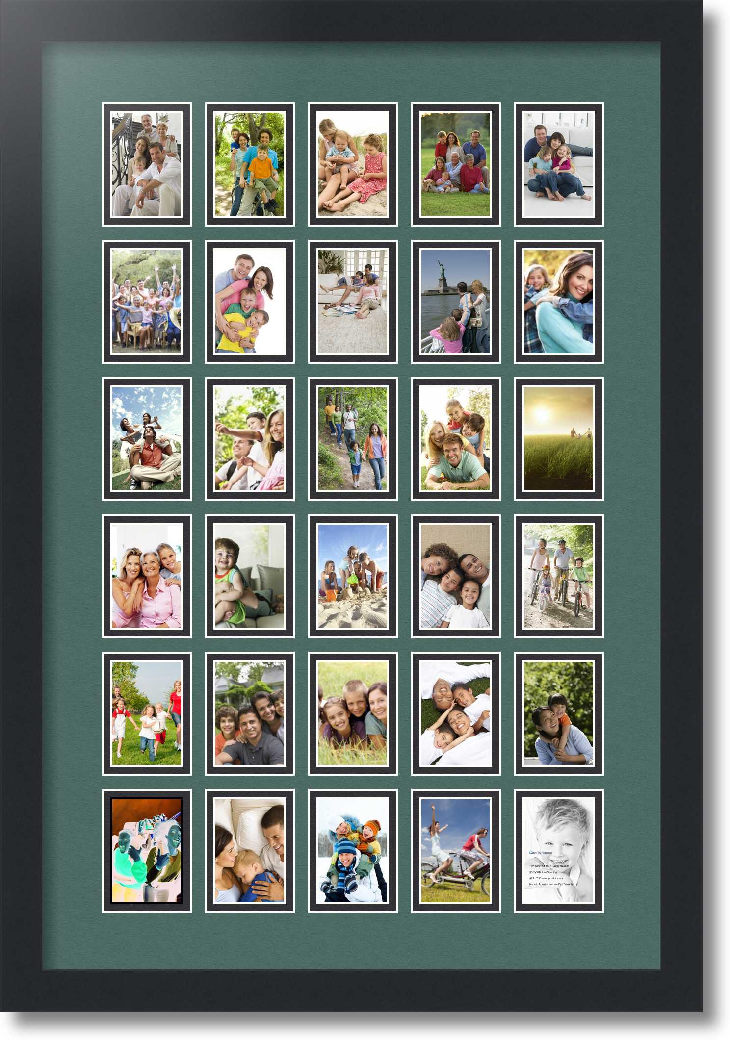 Satin Black Collage Picture Frame with 30 2x3 Opening s Double Matted ...