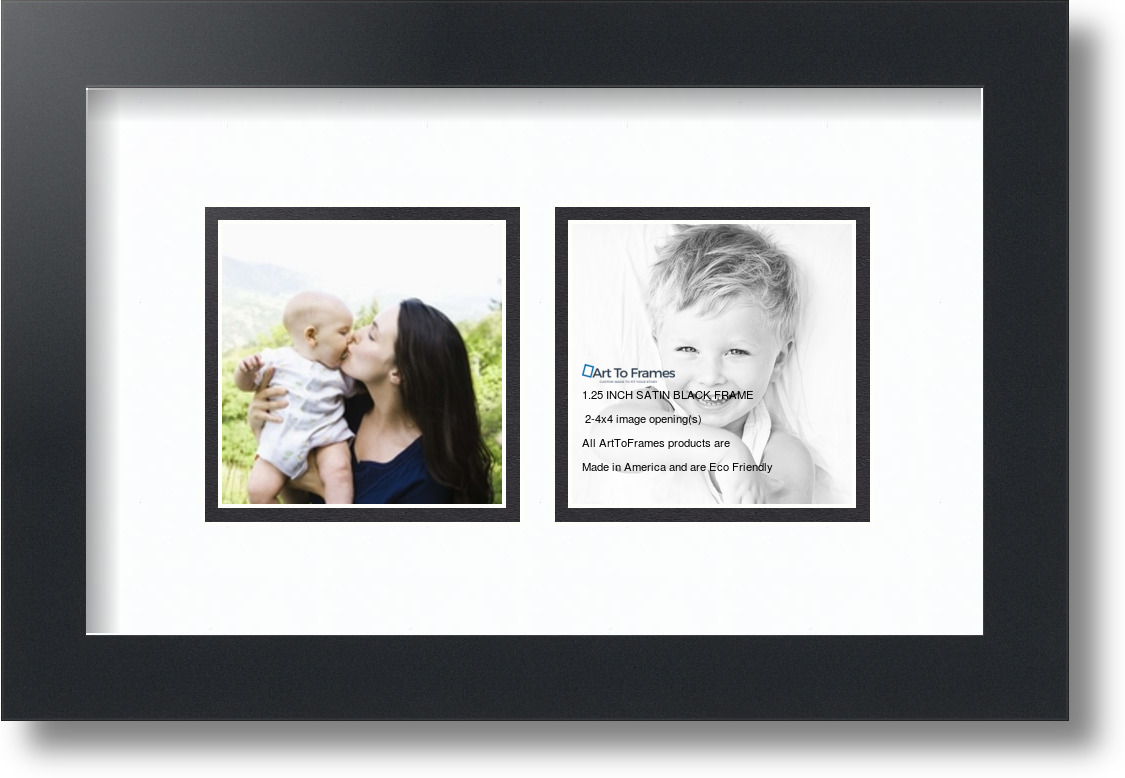 Satin Black Collage Picture Frame With 2 4x4 Opening S