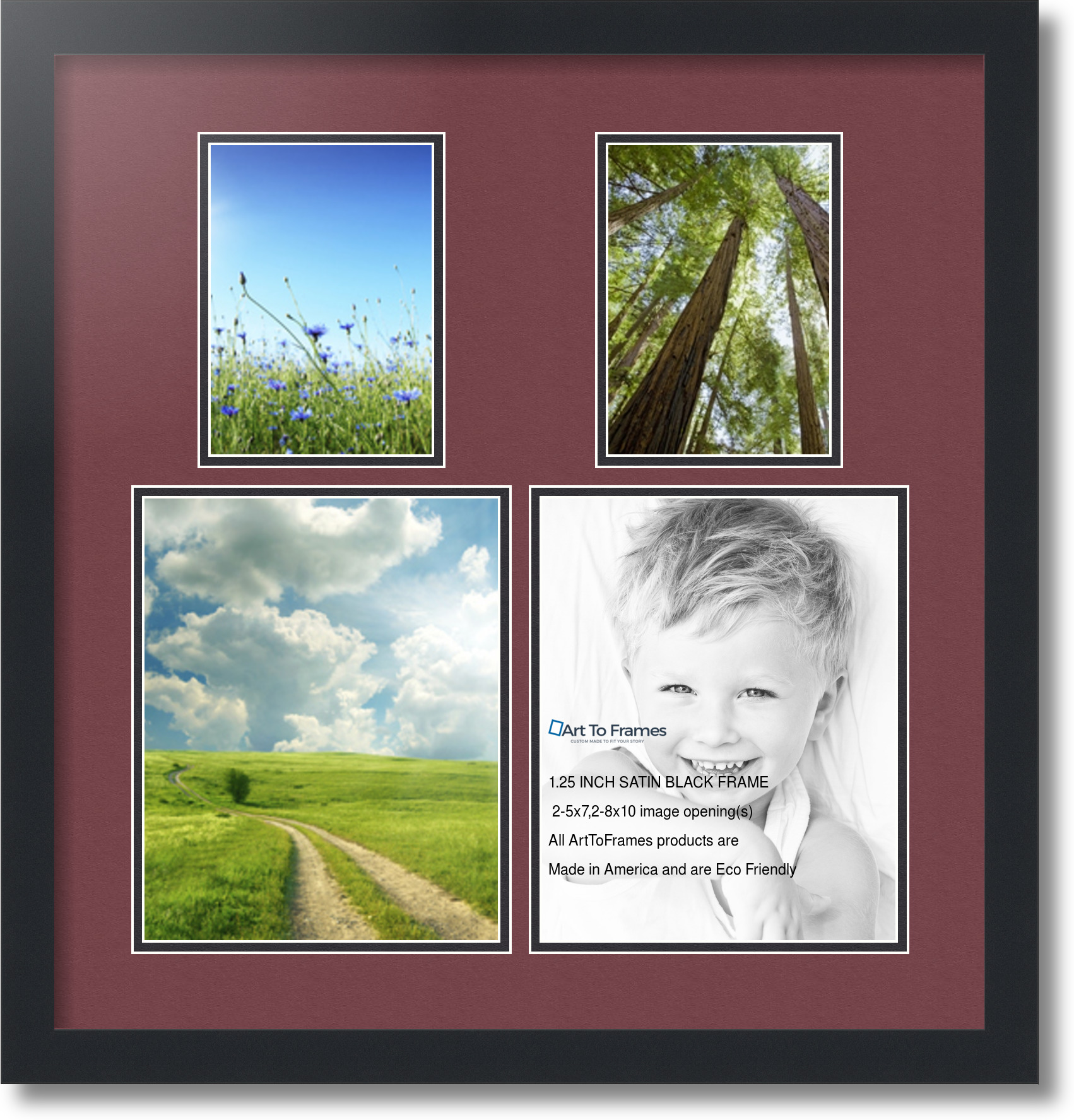 satin black collage picture frame with 2 8x10 5x7 opening s double matted ebay. Black Bedroom Furniture Sets. Home Design Ideas