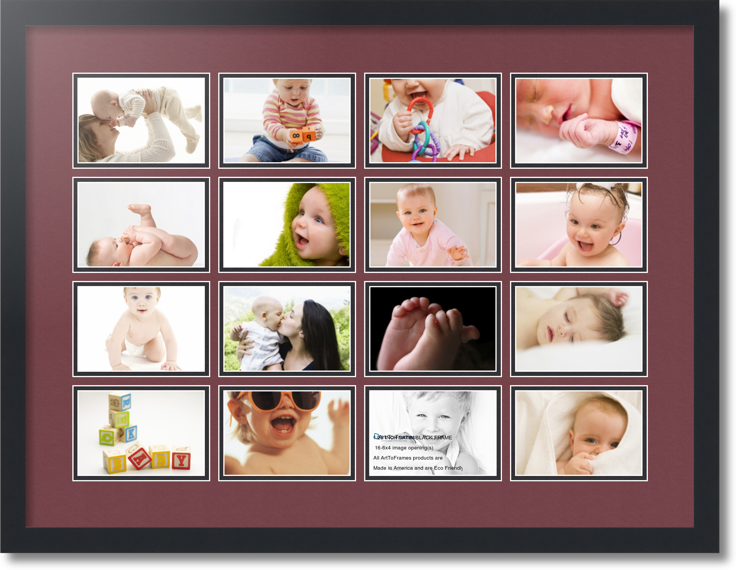 Satin Black Collage Picture Frame With 16 4x6 Opening S