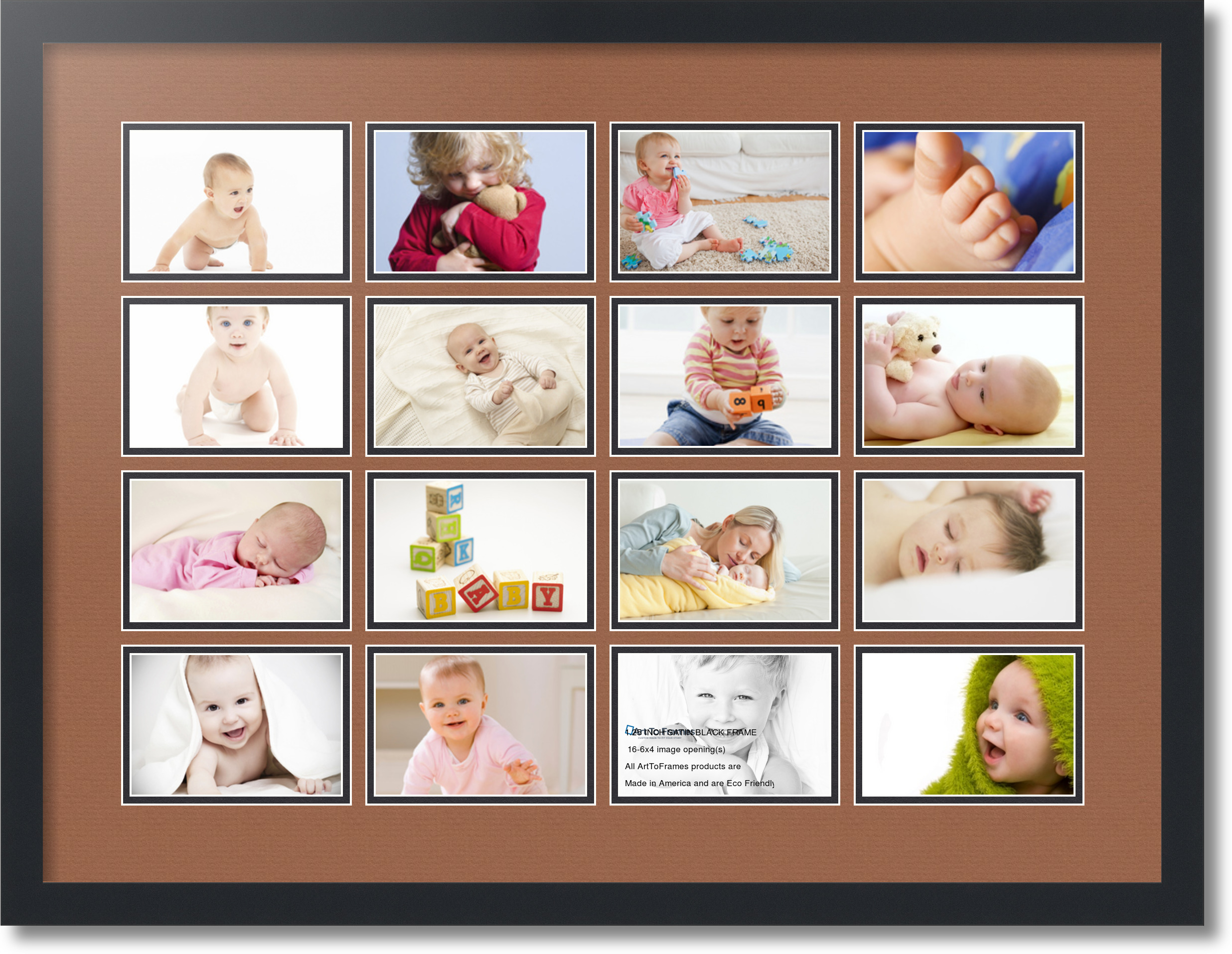 4 By 6 Collage Frames: Satin Black Collage Picture Frame With 16 4x6 Opening S