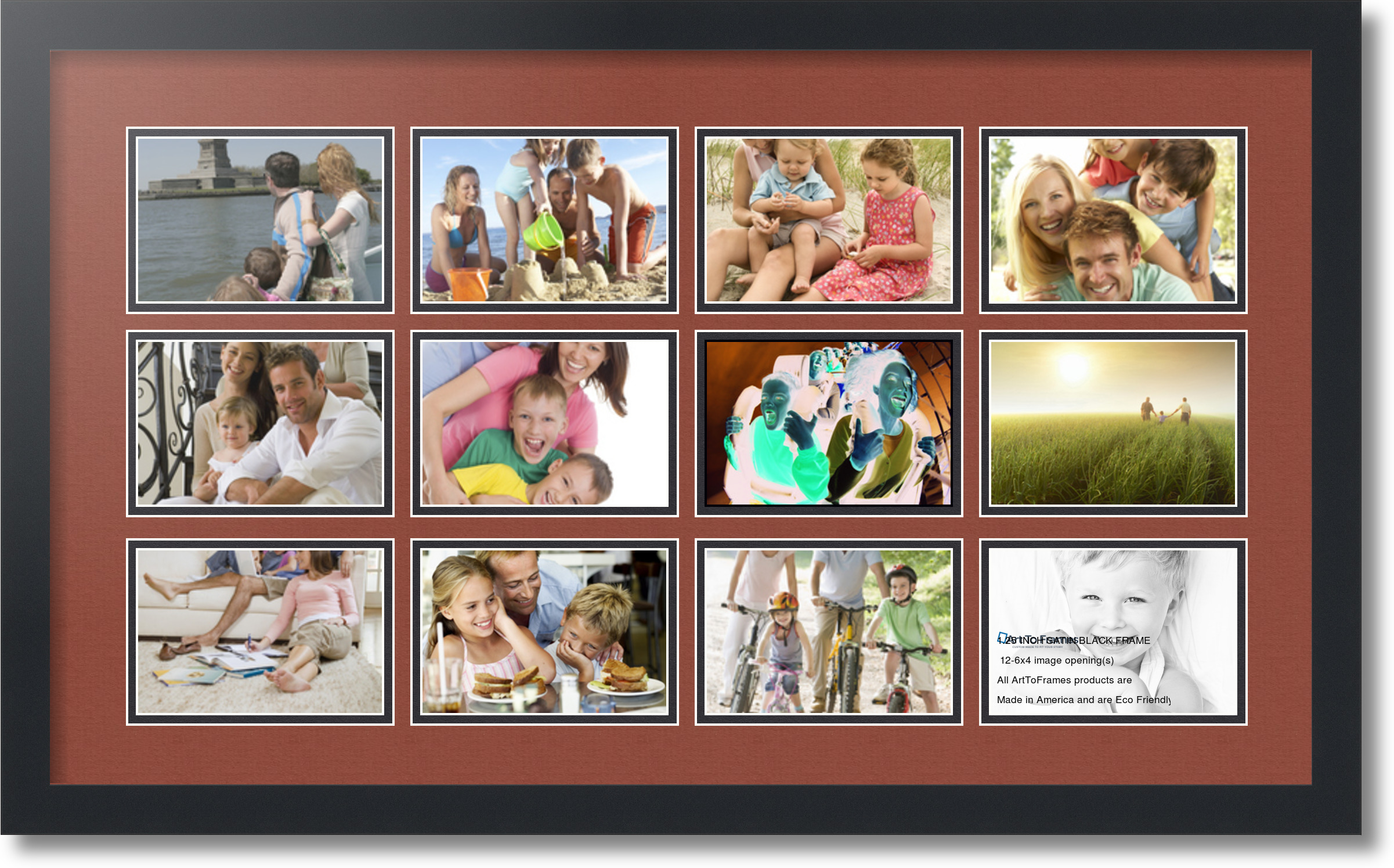 4 By 6 Collage Frames: Satin Black Collage Picture Frame With 12