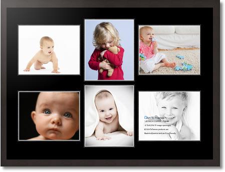 34x25 Espresso Collage Picture Frame 6 Opening Super White