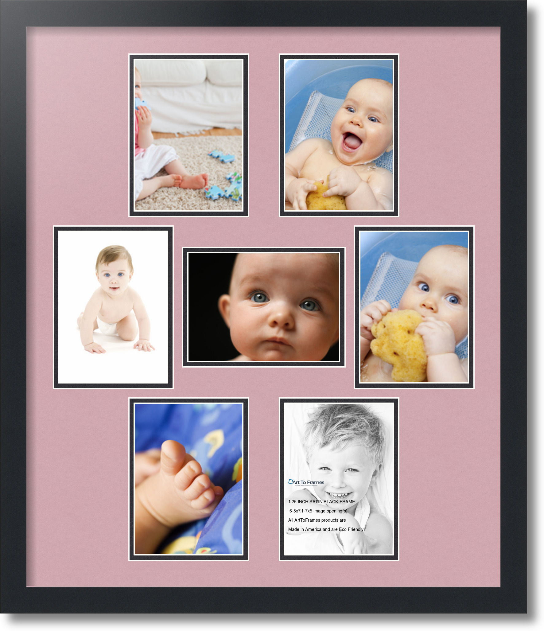 Satin Black Collage Picture Frame With 7 5x7 Opening S