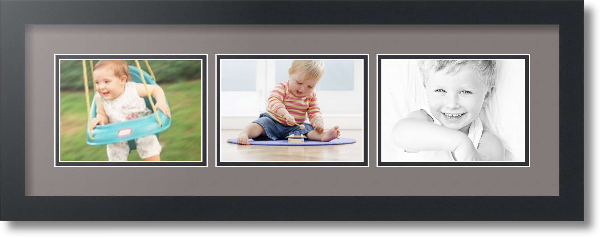 Satin Black Collage Picture Frame With 3 5x7 Opening S