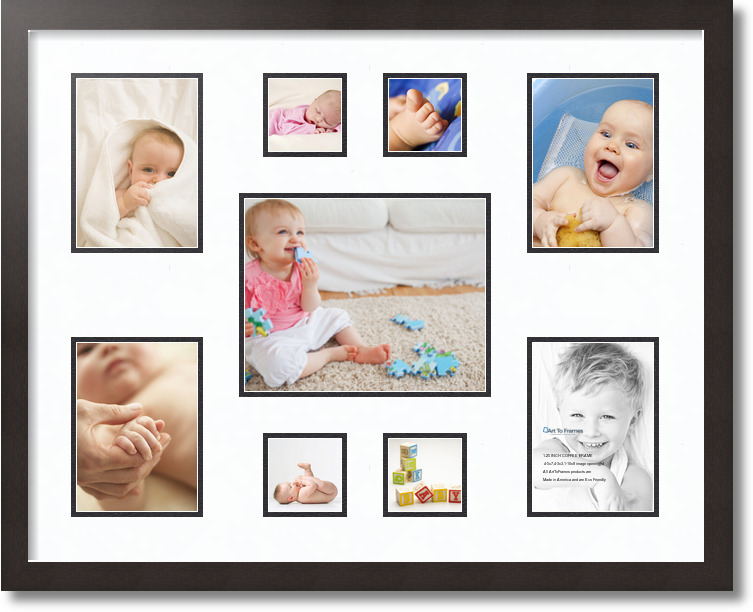 22 By 28 Frame White: 28x22 Espresso Collage Picture Frame 9 Opening Super White
