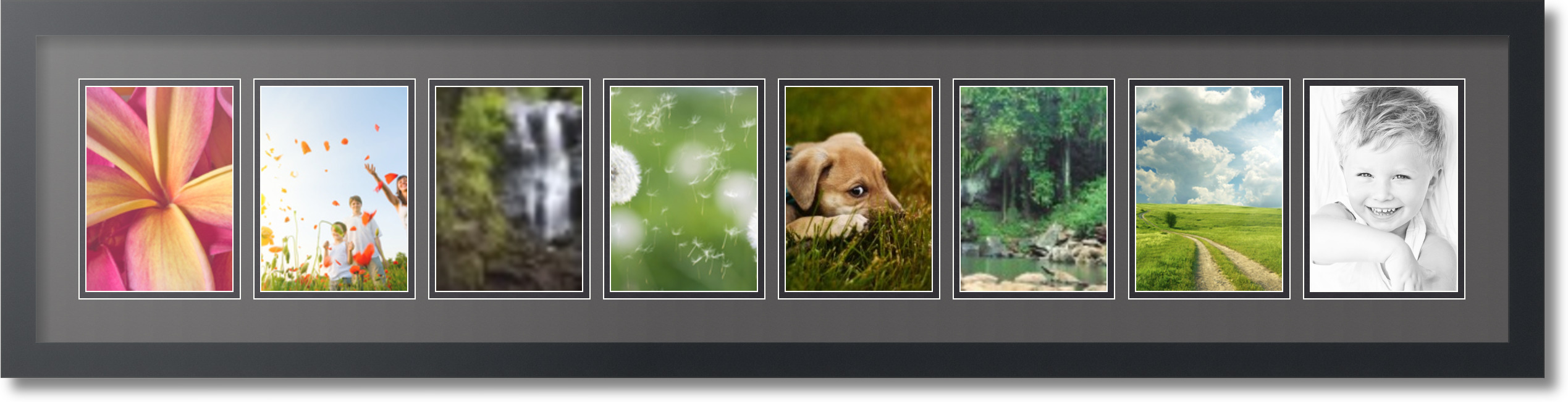 satin black collage picture frame with 8 5x7 opening s double matted. Black Bedroom Furniture Sets. Home Design Ideas