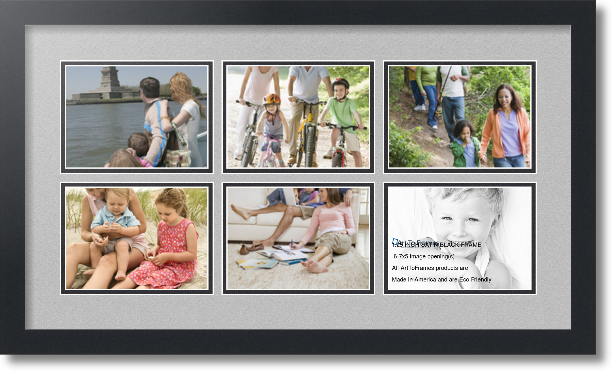 Satin Black Collage Picture Frame With 6 5x7 Opening S